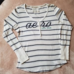 Aerpostale NY Thermal white navy Striped Henley